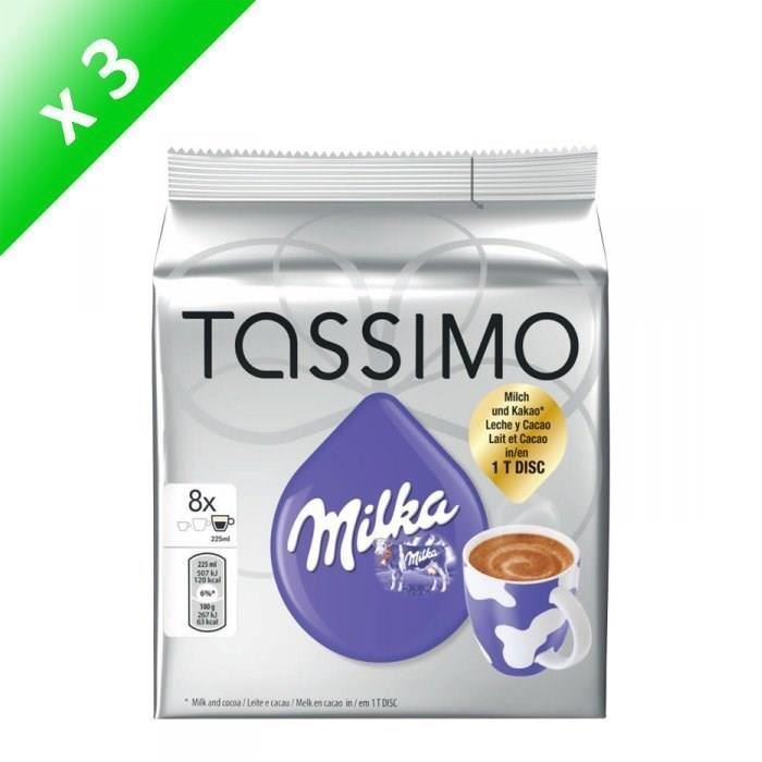 3 X Packs Of Tassimo Milka Hot Chocolate Pods Capsules 8 T