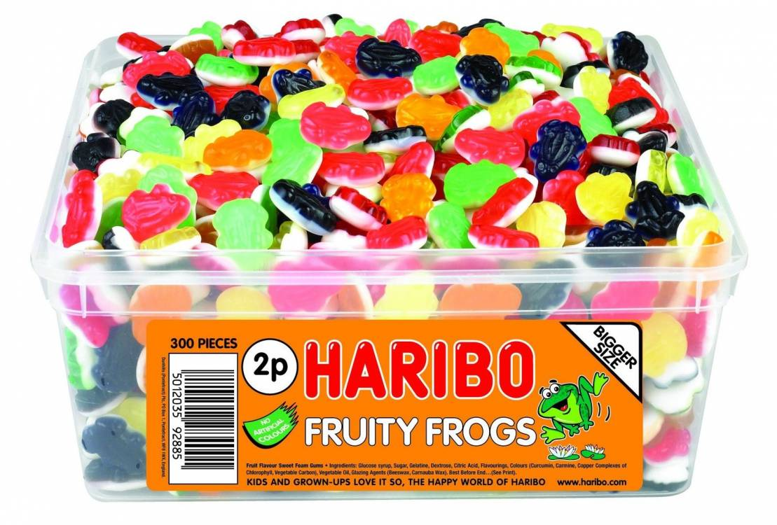 HARIBO SWEETS - FRUITY FROGS 300 PER TUB