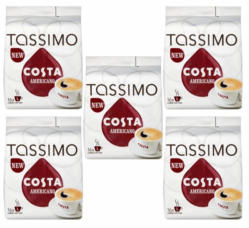 Tassimo Costa Americano 16 T Discs Pack Of 5 Total 80 T